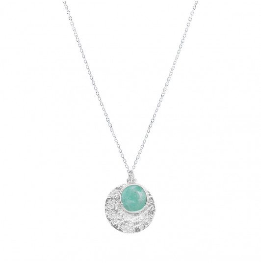 Gemstone Maya medal & chain necklace