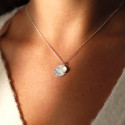 925 Silver Moonstone Maya medal & chain necklace