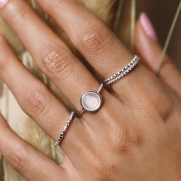 925 Silver chiselled and textured band ring