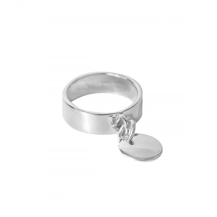 925 Silver flat medal on band ring