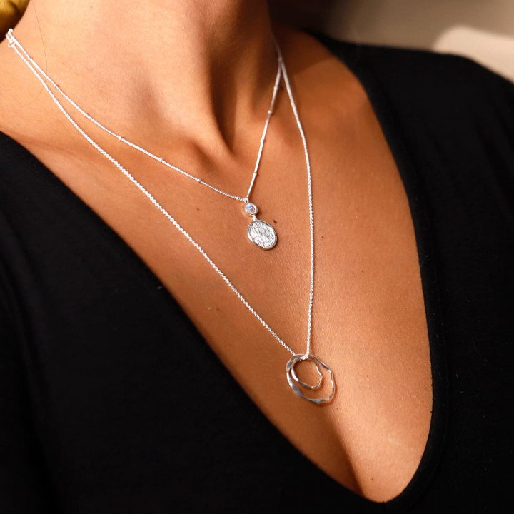 925 Silver beaded chain necklace with moonstone & brushed medal