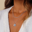 925 Silver chain necklace with beaded medal