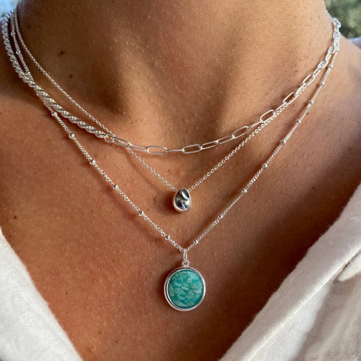 925 Silver beaded chain necklace with Amazonite medal
