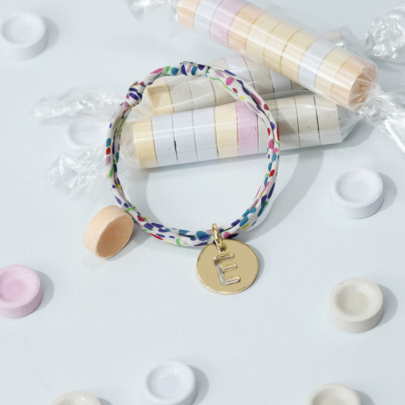 Liberty bracelet with perforated initial letter for children