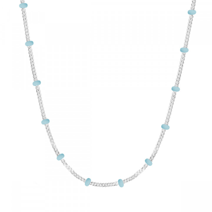 925 Silver chain necklace with turquoise blue enamel beads