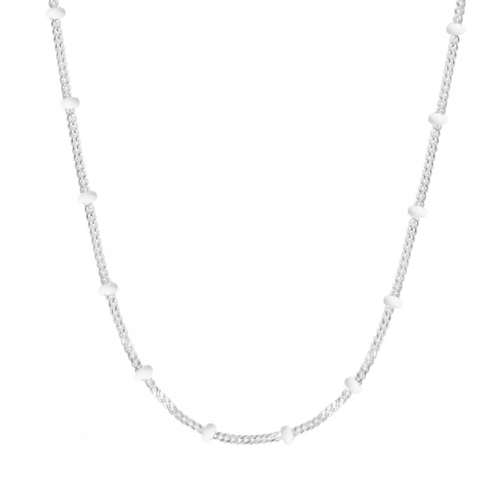 925 Silver chain necklace with white enamel beads