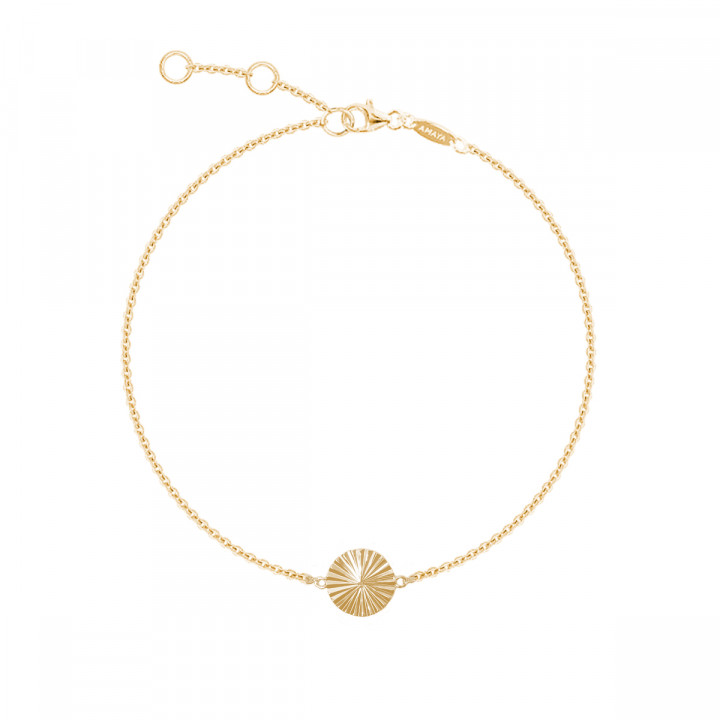 Gold-plated striated medal chain bracelet