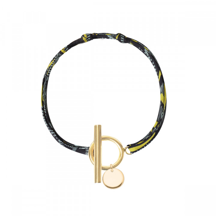Gold-plated liberty bracelet with T-toggle & small curved medal