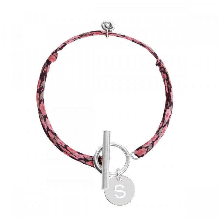 925 Silver liberty bracelet with T-toggle & hollowed initial medal