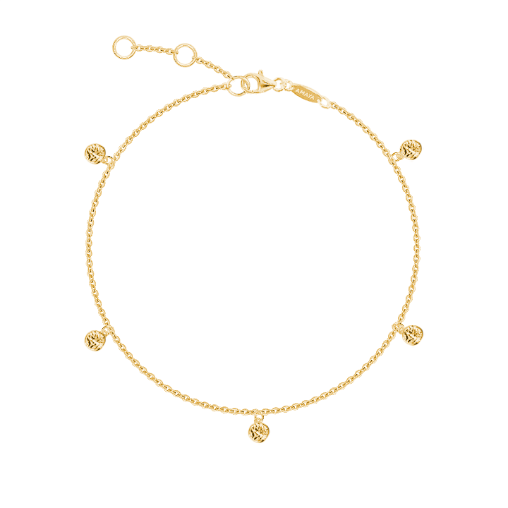 Gold-plated 5 mini textured medals chain bracelet