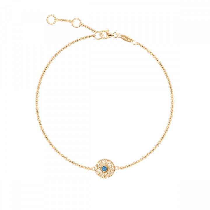 Gold-plated textured medal & turquoise chain bracelet
