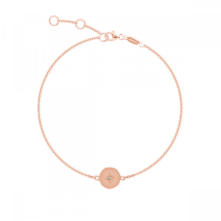 Rose gold-plated chain bracelet with beaded sun medal