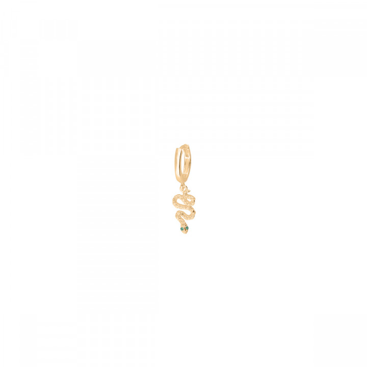 Gold-plated hoop earring with snake charm