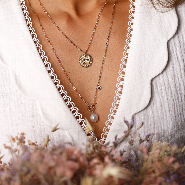 Gold-plated Beaded & textured medal chain necklace