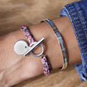 925 Silver liberty bracelet with T-toggle & medal