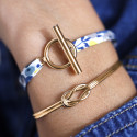 Gold-plated bangle bracelet with bow