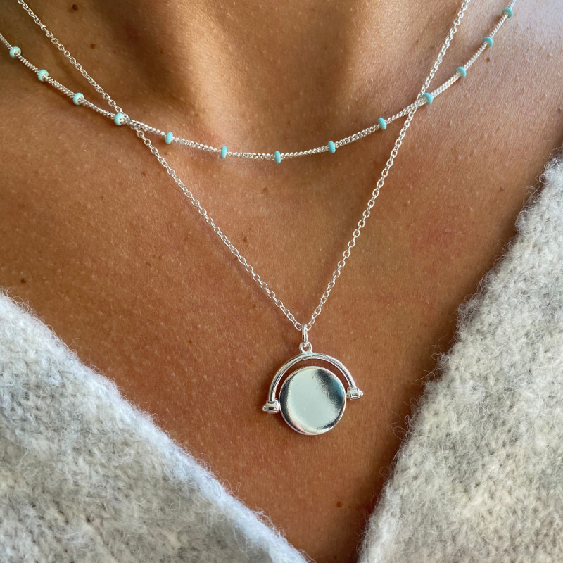 925 Silver small celestial & turquoise blue necklace set