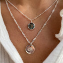 925 Silver beaded chain necklace with labradorite medal