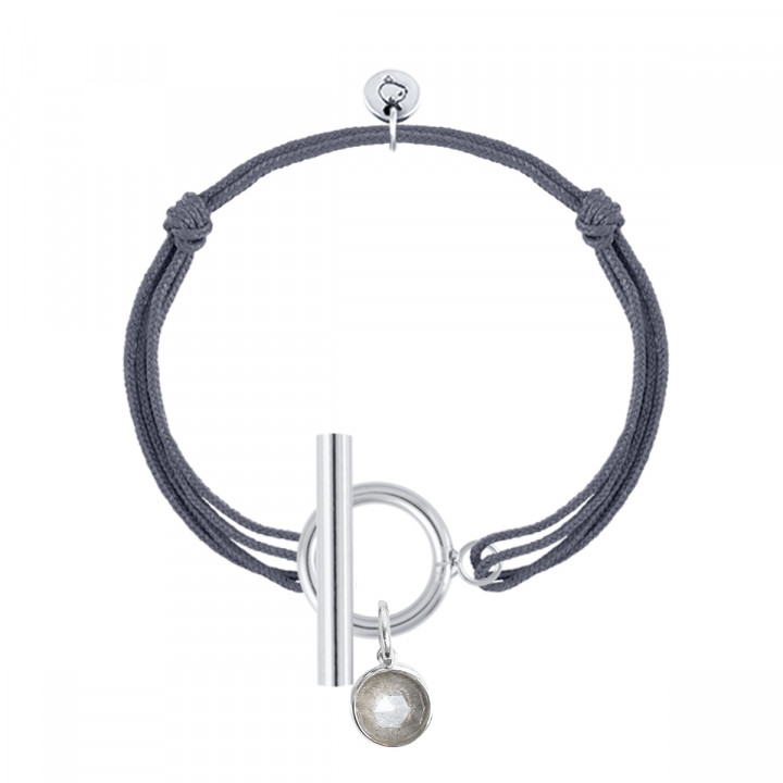 925 Silver tie bracelet with T-toggle & gemstone
