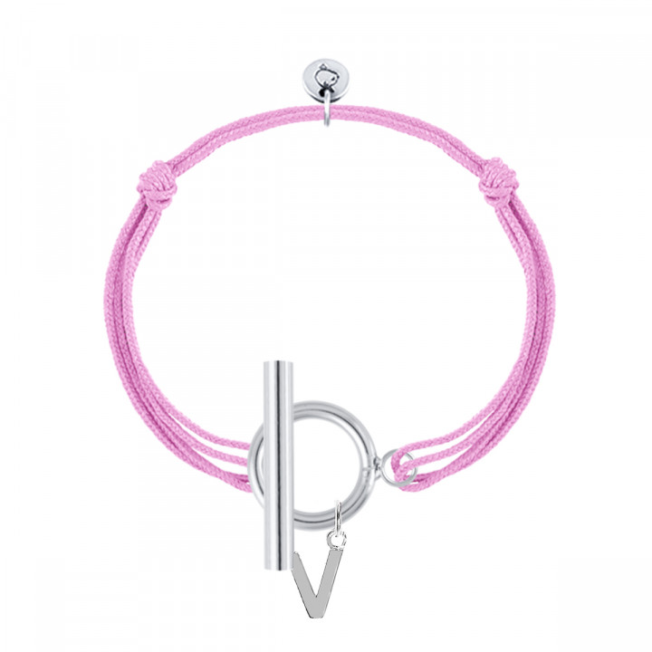 925 Silver tie bracelet with T-toggle & a letter charm