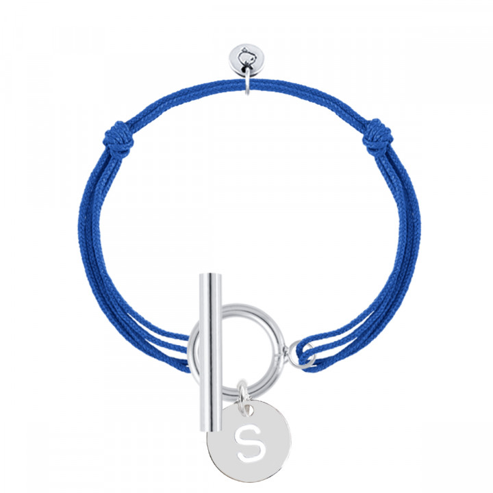 925 Silver tie bracelet with T-toggle & hollowed initial medal