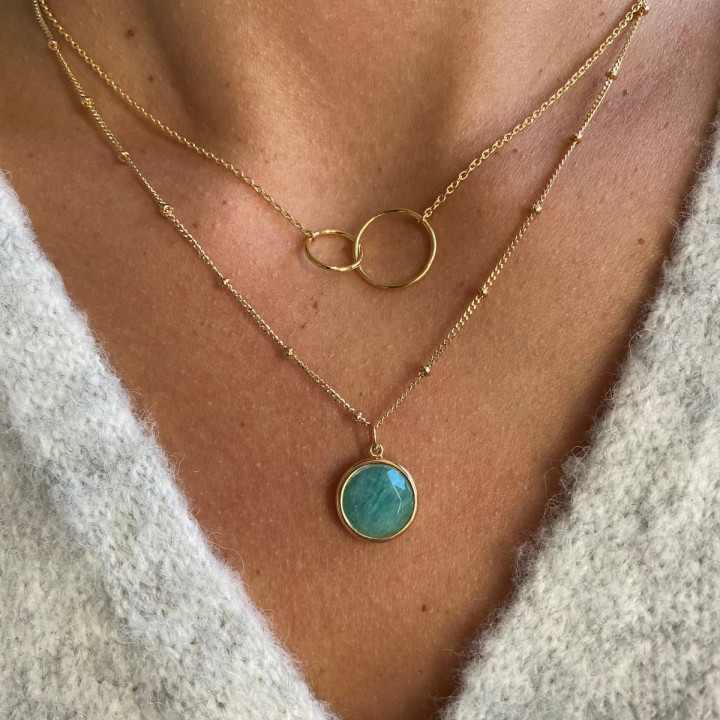 Gold-plated chain necklace with double ring