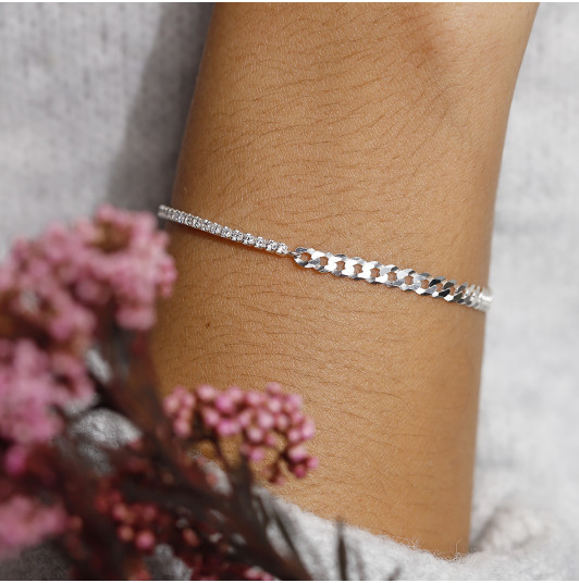 Curb chain and zircon chain bracelet