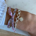 925 Silver chain bracelet with twisted large links & wind rose medal