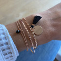 Rose gold-plated tie bracelet with onyx