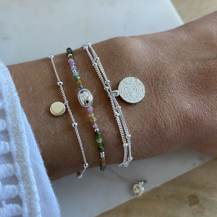 925 Silver two-row beaded chain bracelet with small Maya medal