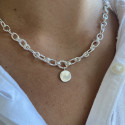 925 Silver twisted large link chain necklace with medal