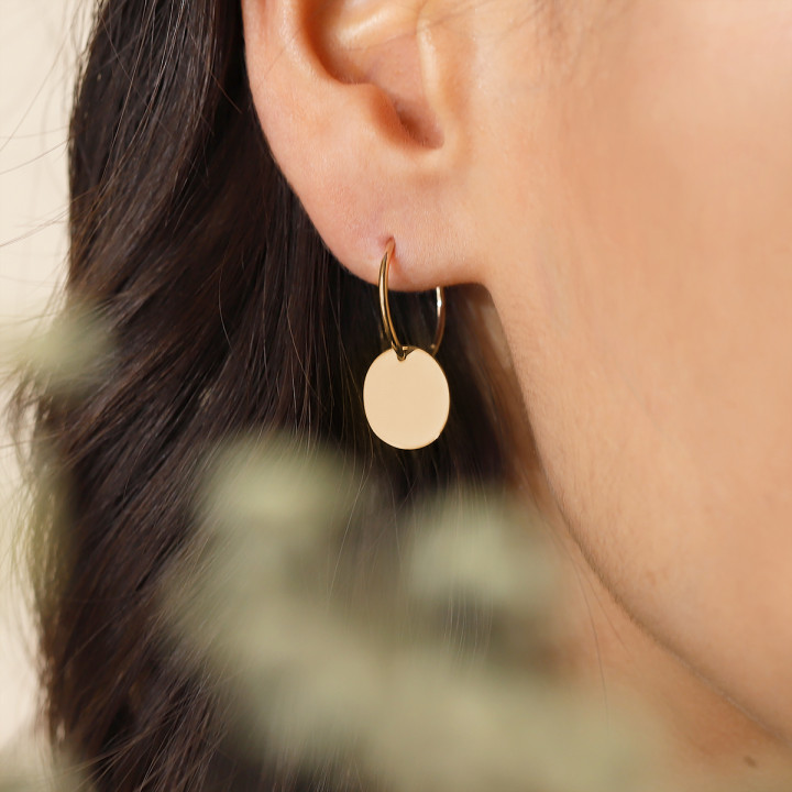 Gold-plated thin hoop earrings with medal