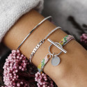 925 Silver liberty bracelet with T-toggle & small curved medal