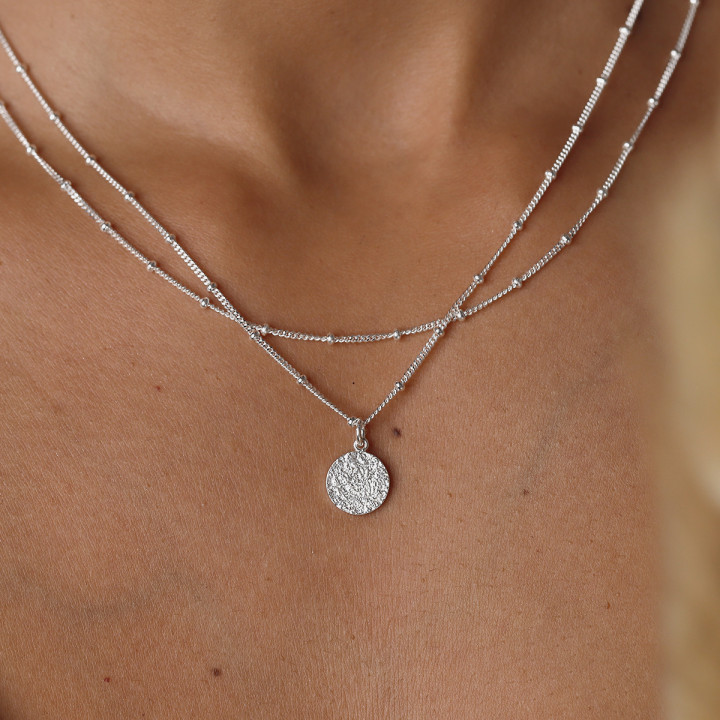 925 Silver two-row beaded chain necklace with small Maya medal