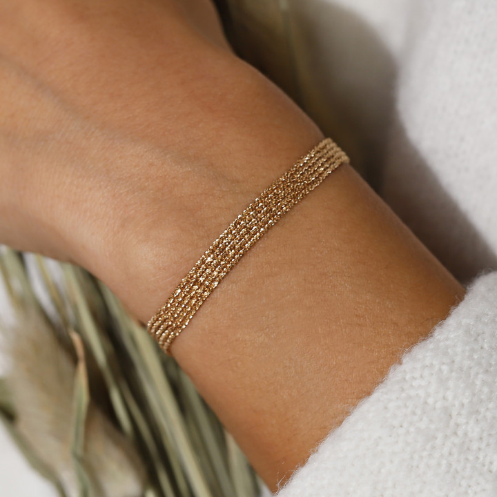 Gold-plated twisted multi-chain bracelet
