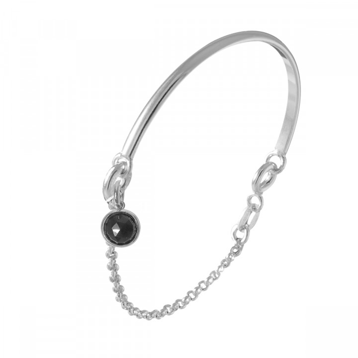 925 Silver half bangle and chain bracelet with onyx medal