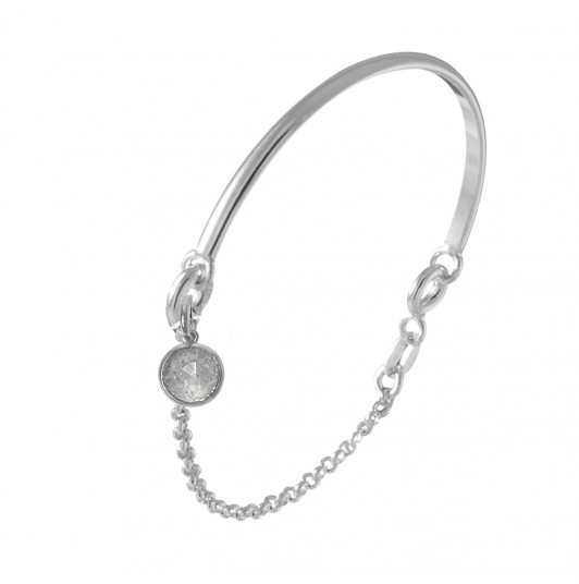 Half bangle and chain bracelet with labradorite medal