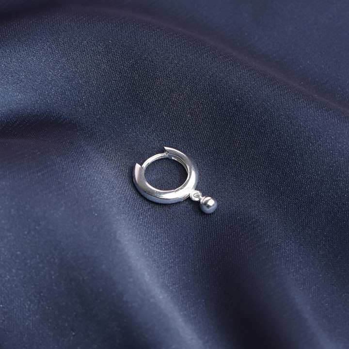 925 Silver Hoop earring with hanging bead