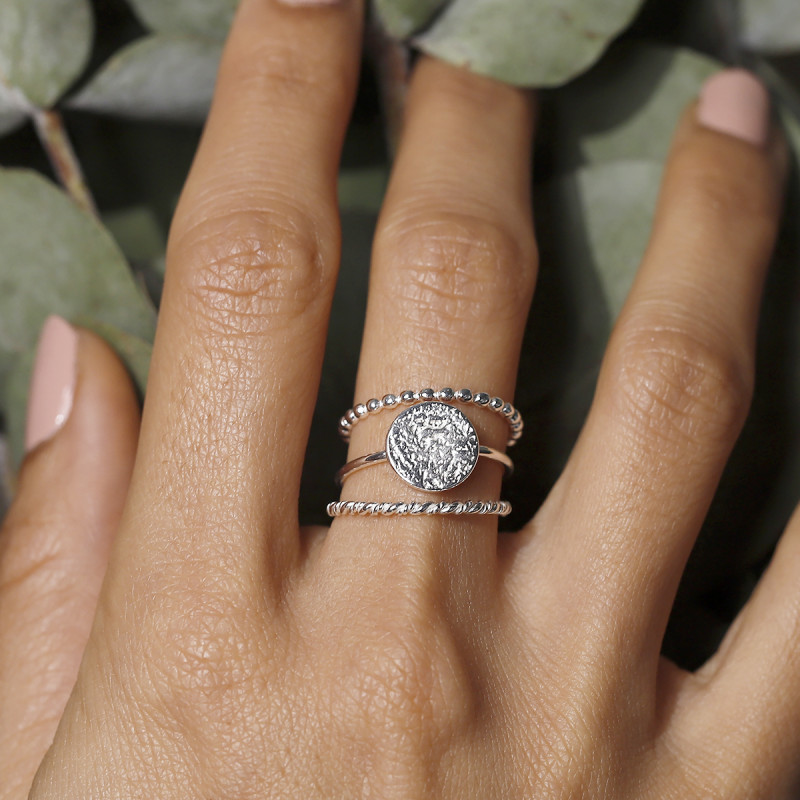 925 Silver twisted ring set