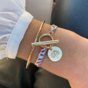 Gold-plated liberty bracelet with T-toggle & medal