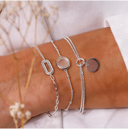 Oval & moonstone bracelet set