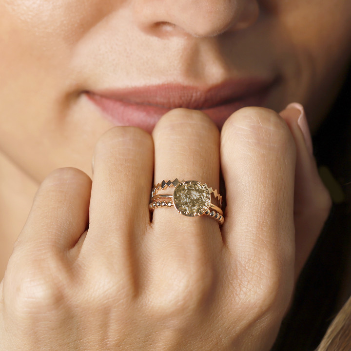 Gold-plated textured ring set