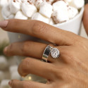 925 Silver band ring with hammered medal