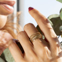 Gold-plated striated ring set