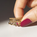 Gold-plated zig zag & striated ring set