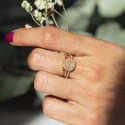 Gold-plated feston & textured ring set