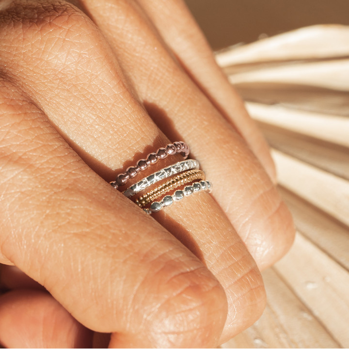 Thin tricolor ring set