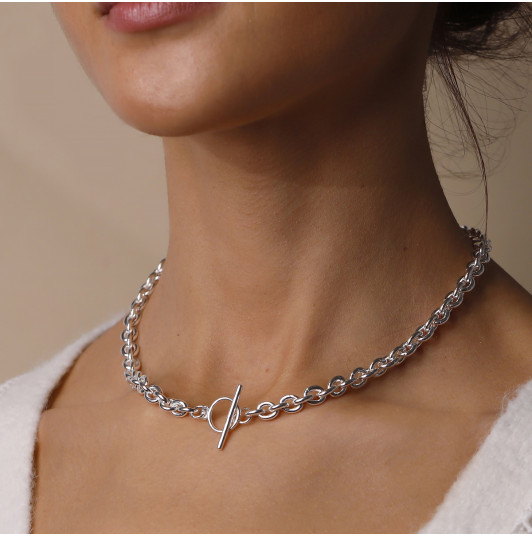 Coffee bean chain necklace with t toggle