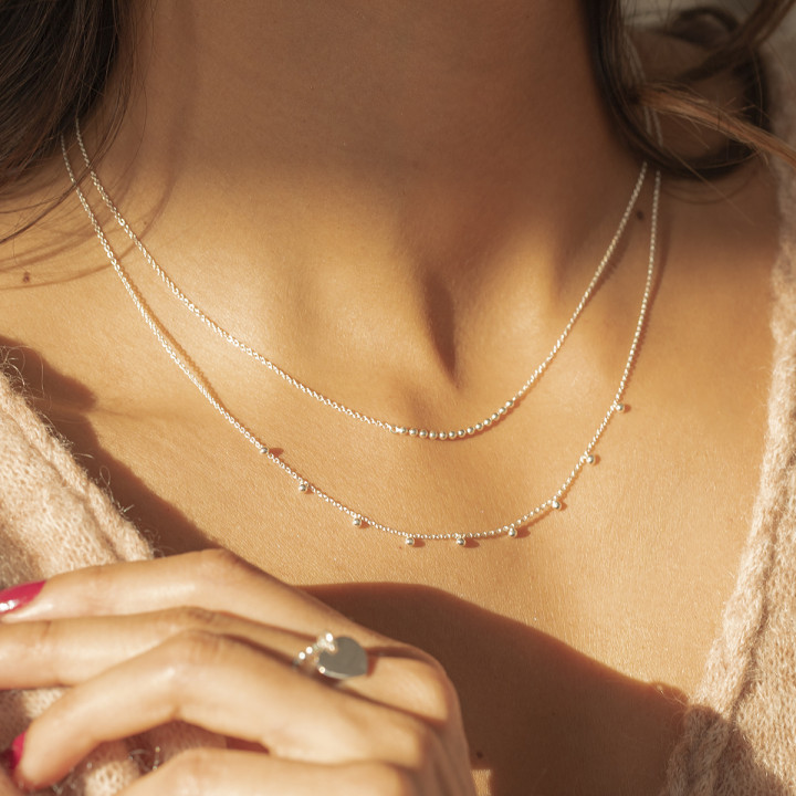 925 Silver chain necklace with beads row