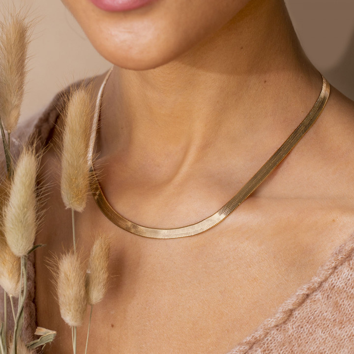 Gold-plated snake mesh necklace